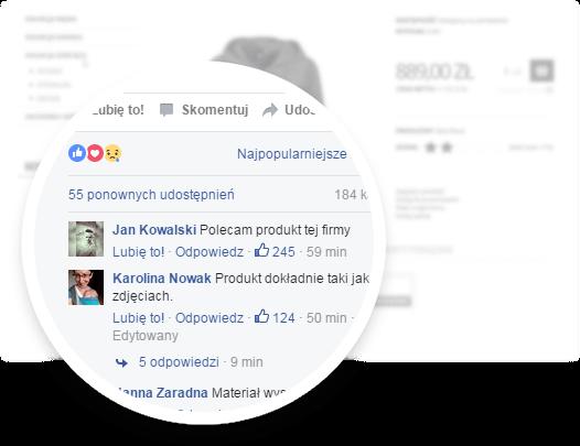 Sklep na facebook - screen ze sklepu z powiększonymi komentarzami