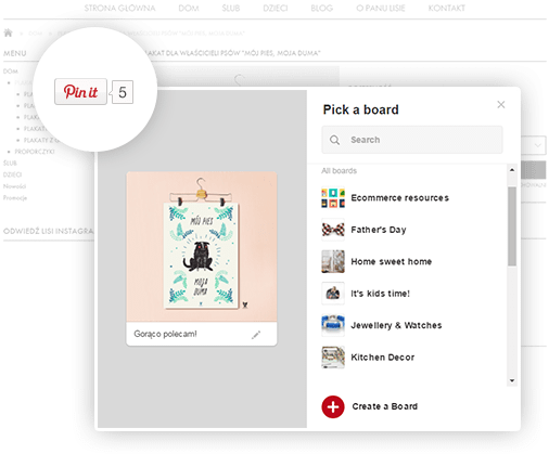 Pinterest w sklepie Shoper